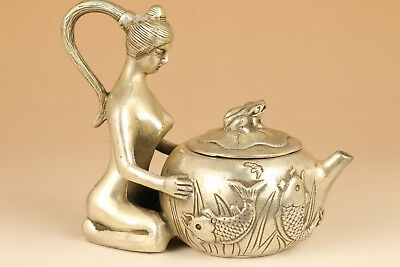 Chinese Old Copper plating silver Hand-Carved Belle Statue Tea POT