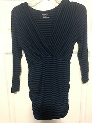Motherhood Maternity Blouse Blue And Black Stripes Ruched Sides Size S