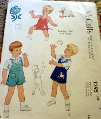 LOVELY VTG 1940s TODDLERS EMBROIDERED SHIRT & SHORTS McCALLS Sewing Pattern 2