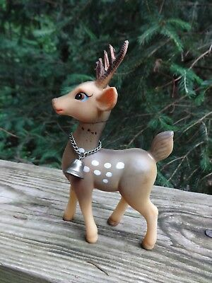 "Vintage Japan 6"" Rubber Spotted Reindeer Figure With Swivel Head & Bell"