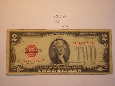 $2 Dollar 1928-G Lot #2 Two Dollar Bill Red Seal Certificate , Nice Rare Note