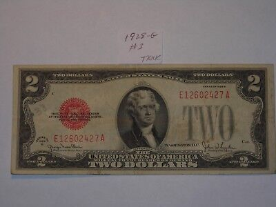 $2 Dollar 1928-G Lot #3 Two Dollar Bill Red Seal Certificate , Nice Rare Note