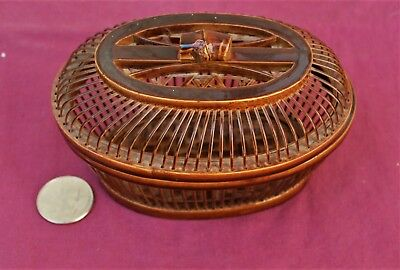 Beautiful Small Antique Chinese Oval  Wood Bamboo Basket with Lid