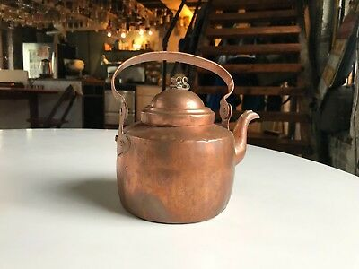 Small antique copper tea kettle 2 pints dovetailed