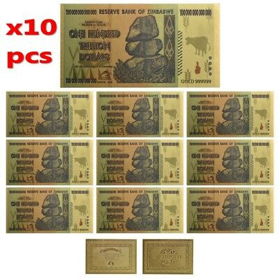 10× $100 One Hundred Trillion Dollar Zimbabwe Gold Banknote Set w/ Rock COA Xmas