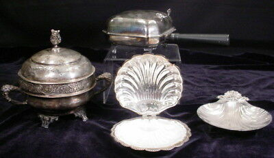 Lot of 4 Vintage Silver Plate Items Crumb Catcher Lidded Dish 2 Shell Dishes