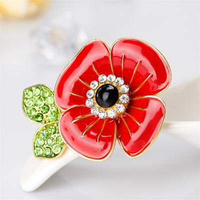 UK RED POPPY Brooch Crystal Pin Enamel Vintage Badge Remembrance Memorial  Gifts