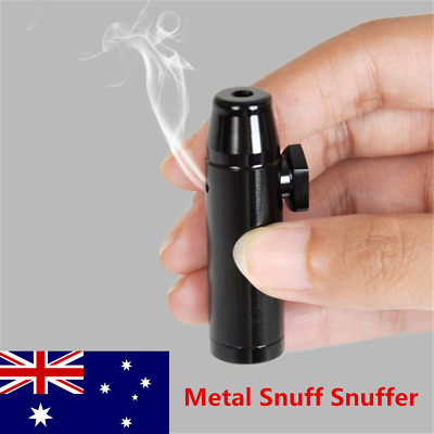 Snuff Metal Bullet Rocket Dispenser Snorter Snuffer Tube Vial Black AU Stock