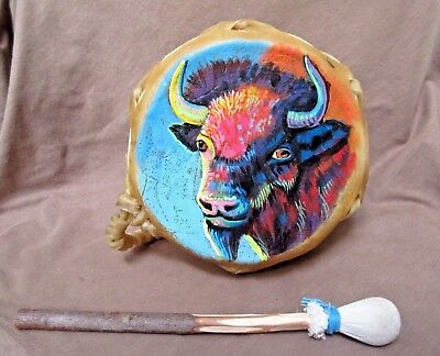 Navajo Rare Gorgeous Hand Made & Painted Two Sided Drum by JC Black HP0070