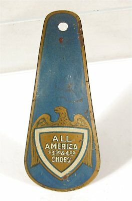 ca1905 TIN LITHOGRAPH ADVERTISING SHOEHORN - ALL AMERICA SHOES SHOE HORN