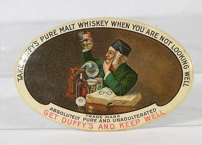 ca1905 CELLULOID ADVERTISING POCKET MIRROR - DUFFYS PURE  MALT  WHISKEY MIRROR