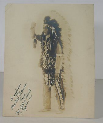 1921 Native American Sioux Indian Chief Yellow Hawk Signed And Inscribed Photo