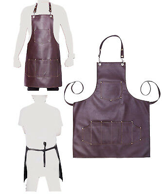 Professional Leather Luxury Hairdressing Apron Cape for Barber Hairstylist Brown