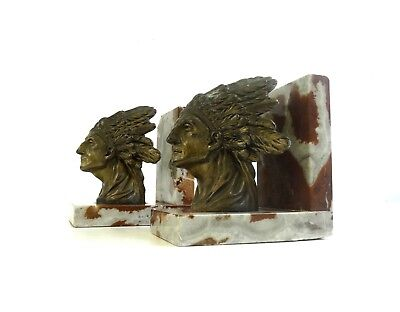 Very Rare Art Deco Indian Native Chief Bookends By Ruffony 1930