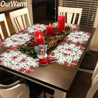 10×Red Poinsettia Embroidered Christmas Placemat Xmas Dining Table Mat Disc Pad