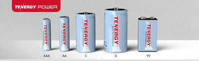 Tenergy AA/AAA/C/D/9V Size High Capacity NiMH Rechargeable Batteries Cells Lot