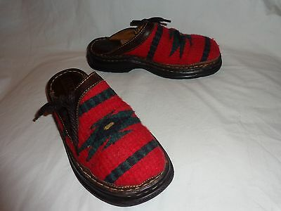 Born Brown Leather & Red Woven Western Indian Saddle Blanket Clogs Mules--6 36.5