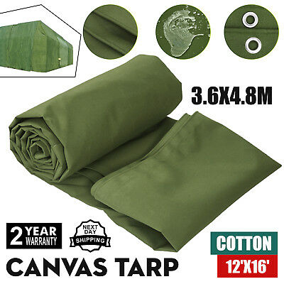8' X 20' Canvas Tarp 18 oz Extra Heavy Duty Tarpaulin Water