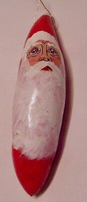 Original Hand Painted Santa Gourd Ornament - Signed