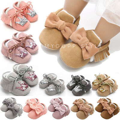 Newborn Baby Bandage Cotton Shoes Toddler First Walkers Kid Shoes Sneaker UK