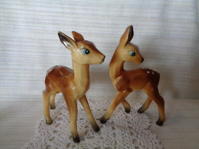 """2 Vintage Hard Plastic Fawn Deer with Carved Look """"BAMBI"""" LOOK??"""