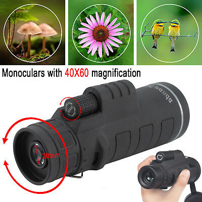 40X60 Focus HD Optics Lens Hiking Zoom Portable Monocular Telescope UK