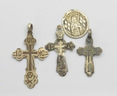 Post medieval 84 Silver Christianity Cross & Medalion pendants. 18 Century