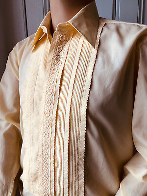 Embroidered Yellow Shirt Formal Evening Festive Party After Six Vtg 46 X 16 Xl
