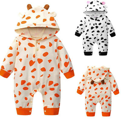 Newborn Toddler Baby Boy Girl Cow Print Romper Jumpsuit Hooded Outfit Clothes UK