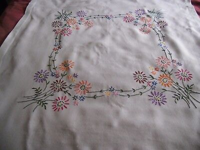 """Vintage cream linen 39"""" x 39"""" TABLECLOTH hand embroidered with pretty flowers"""