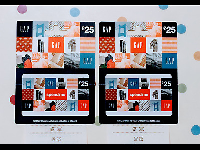 GAP gift cards 2 x £25 with receipts