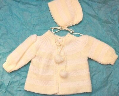 Vintage baby Sweater & Cap Yellow Made in Italy by Renro  Unisex   3-6 mo 1950s