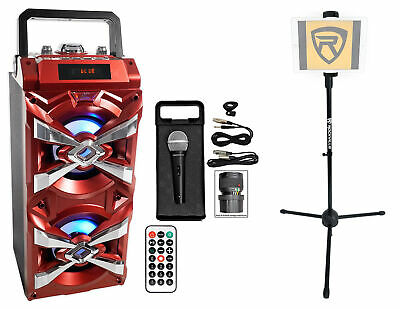 NYC Acoustics Bluetooth Karaoke Machine System w/LED's+Microphone+Remote+Stand