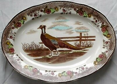 "Antique, Vintage Holiday Turkey Platter Large 18 1/4"" by 13 1/2""  Pheasant"