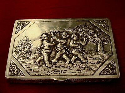 A Fine Antique Continental German ? Solid Silver Hallmarked 800 Snuff Box