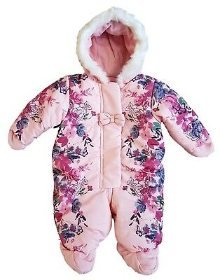 Baby Girls Quilted Snowsuit Pramsuit Winter Coat Warm Hooded Pink Rose