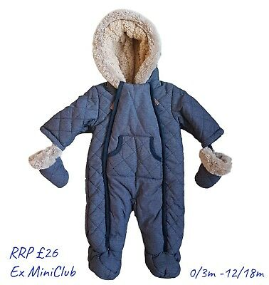 Baby Boys Pramsuit Snowsuit Winter Coat Warm Hooded Fully Fleece Lined RRP £25