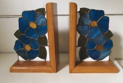 Vintage STAINED GLASS BOOKENDS Flowers Floral Wood Oak Walnut