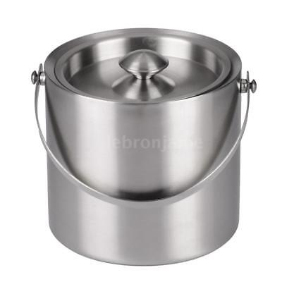 3L Double Walled Stainless Steel Insulated Ice Bucket Wine Cold Barrel Y6R5
