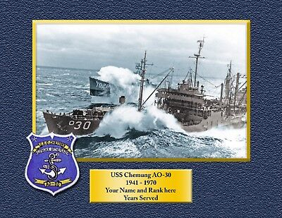 USS CHEMUNG AO30 Custom Personalized Print of US Navy Ships Gift Idea
