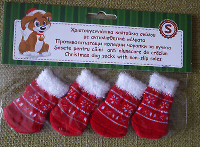 BNWT SET 4 XSMALL /Small  Red Christmas Santa Dog Socks For Paws
