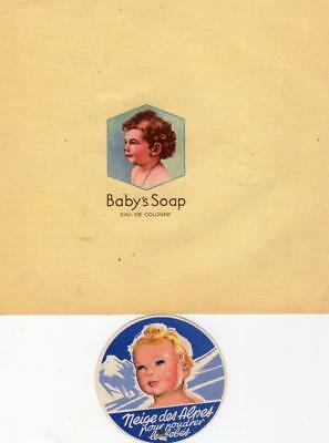 ORIGINAL VINTAGE WRAPPER FOR BABY SOAP + LABEL FOR BABY POWDER - 1930s