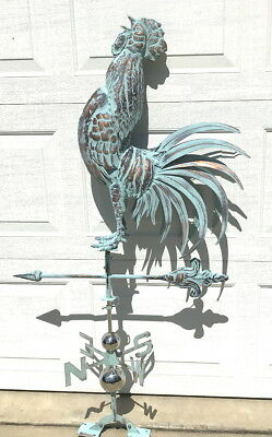 3D XL Crowing ROOSTER Weathervane AGED COPPER PATINA FINISH Functional NEW!