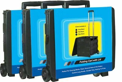 Royal Heavy Duty Mobile Folding Office Cart with Lid Basket - Collapsible