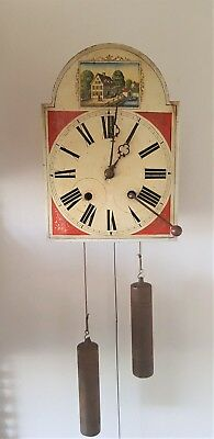 Antique Wall Clock Black Forest Schwarzwalder Folklore Mid 19c Folding Pendulum