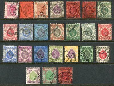 HONG KONG QV to KGV used Lot to $10 24 Stamps