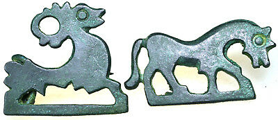 Lot of two Roman Bronze Zoomorphic Fibula Brooches