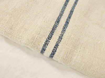 Vtg Antique INDIGO BLUE STRIPE Patched HEMP LINEN Nubby FEEDSACK GRAIN BAG 21x47