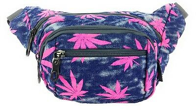 Maxx Gear Unisex 4-Pocket Marijuana Festival Bum Bag Waist Fanny Pack - Blue