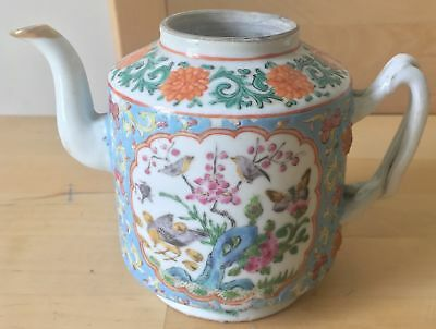 "3.75"" antique CHINESE porcelain FAMILLE VERTE bleu TEAPOT birds butterfly"